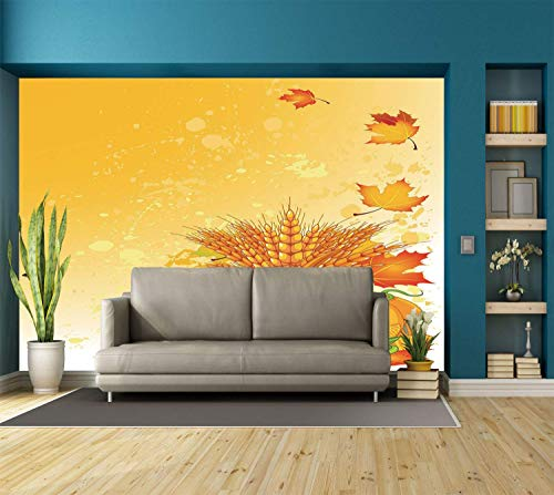 - Funky Wall Mural Sticker [ Harvest,Vivid Festive Collection of Vegetables Plump Pumpkins Wheat Fall Leaves Decorative,Earth Yellow Green Red ] Self-adhesive Vinyl Wallpaper / Removable Modern Decorati