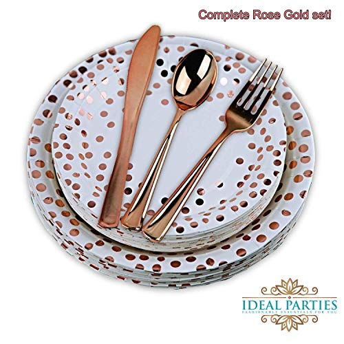 125 PCS Rose Gold Dot Disposable Paper Plates and Plastic Silverware Dot Design, 25 Dinner and Dessert Plates, 25 Forks, Spoons and Knives! for Any Special Occasion! Bridal, Birthday, Bachelorette!
