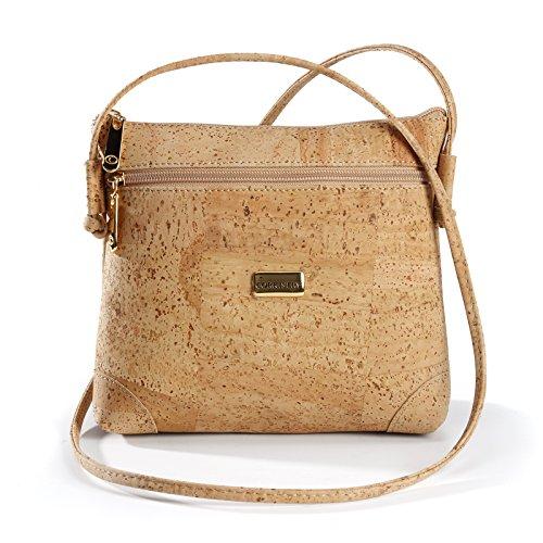 Cork Vegan Cross Body Bag Shoulder Bag   Natural Purse   Latest Design   Eco - Friendly   Front Pocket   Light Brown Color (Cork Purse Wire)
