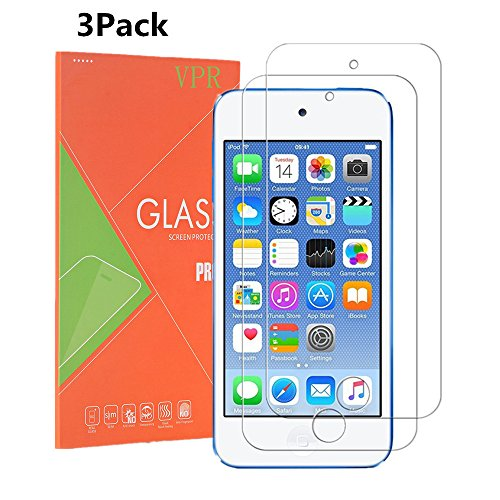 Protector, VPR [3 Pack] Premium Tempered Glass [Ultra-Clarity] [Highly Responsive] [No-Bubble Installation] for iPod Touch 6th, 5th Generation, (3Pack) ()
