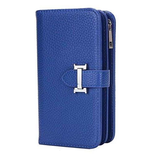 JIALUN-carcasa de telefono IPhone X Funda Solid PU Leather + TPU Funda con cremallera Carteras con ranuras para tarjetas desmontable 2 en 1 Diseño para IPhone X ( Color : Black ) Blue