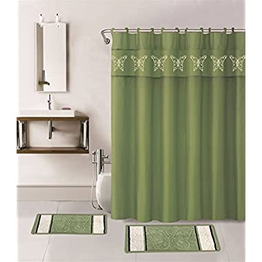 15-piece Butterfly Bathroom Set: 2-rugs/mats, 1-fabric Shower Curtain, 12-fabric Covered Rings (Green)