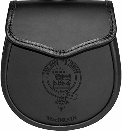 MacDrain Leather Day Sporran Scottish Clan Crest