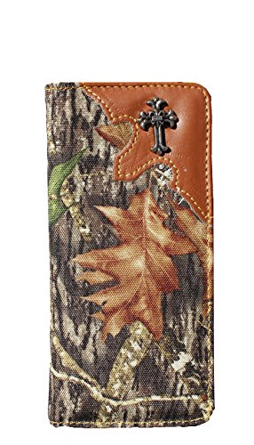 book wallet Long Western Style Bi Fold Camo Wallet with Cross and Leather Trim and Cross ()