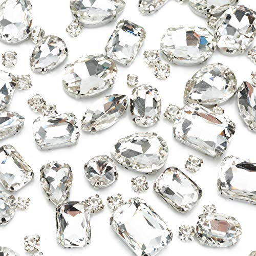 130PCS White Clear Sew on Glass Rhinestone with Hole Silver Prong Setting Flatback Claw Mix Shape - 30 PCS Large Sew on Diamond and 100 PCS Small Tiny Sew Gems - for Dress, Cloth, Shoes, Swimsuit (Silver Glass Gems)