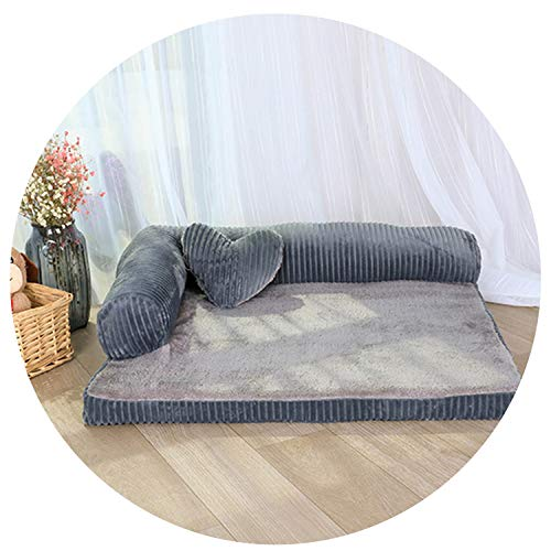 sevenTimes Double-Cushion Dog Bed Breathable Cotton Dog House Plus Size Pet Bed for Dog and Cat Dog Kennel,Grey,M 68X53X17Cm