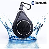 DOLIROX® Waterproof Wireless Hands Free Portable Bluetooth Speakers & Receiver with Built-in Mic and Call Answering Shower Speaker for Smartphone with Sucker and Hanger (Black)