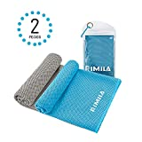 Rimila Cooling Towels 2 Pieces Pouch, Instant Cooling Relief Sports, Workout, Fitness, Gym, Yoga, Pilates, Travel, Camping & More