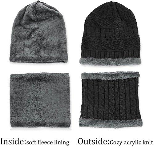 Hombre Hombre Bufanda de Gorras Punto de con Punto Gorras Gorros Invierno Negro TMEOG Sombreros y Invierno de xngRwUC5