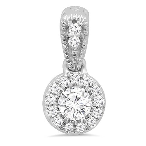 0.25 Carat (ctw) 14K White Gold Round Diamond Ladies Halo Style Pendant 1/4 CT (Chain Not Included) by DazzlingRock Collection