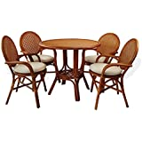 5 Pc Denver Rattan Wicker Dining Set Round Table W Top 4 Arm ChairsColonial Color