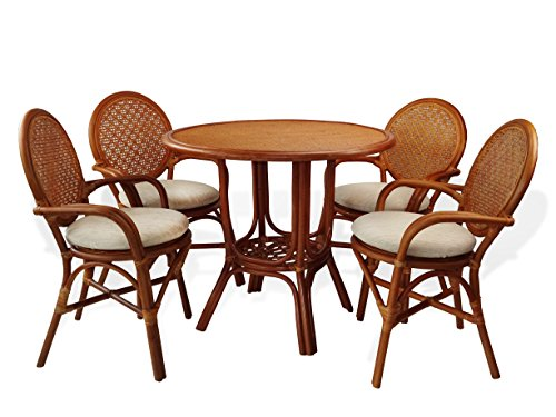 5 Pc Denver Rattan Wicker Dining Set Round Table w/Wicker Top +4 Arm Chairs.Colonial Color