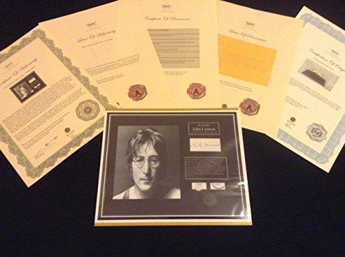 Johns Autographs (JOHN LENNON BEATLES Hair Lock w Towel Photo Autograph Certified Signed Authentic COA)