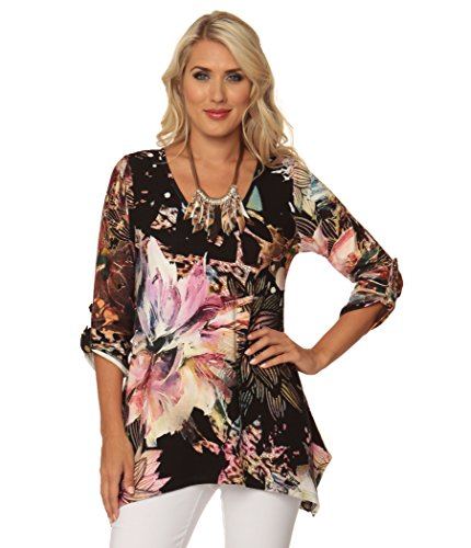 Splash of Flowers Print V-neck Tunic with Rolled Sleeves and Shark Bite Hem. ()