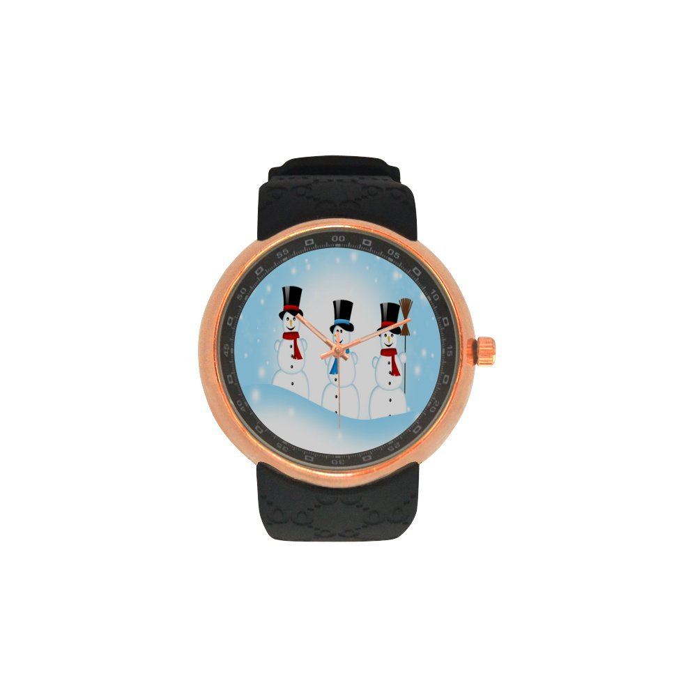 Novelty Gift Merry Christmas Snowman Men's Rose Gold Plated Resin Strap Watch
