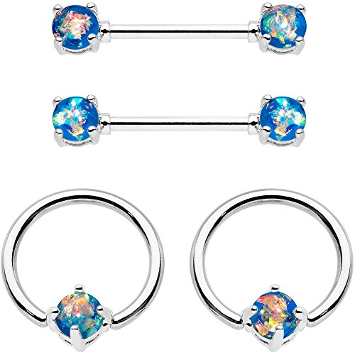 Body Nipple Ring Captive Jewelry (Body Candy Steel Iridescent Blue Accent Captive Ring Barbell Nipple Ring Set 14 Gauge 1/2