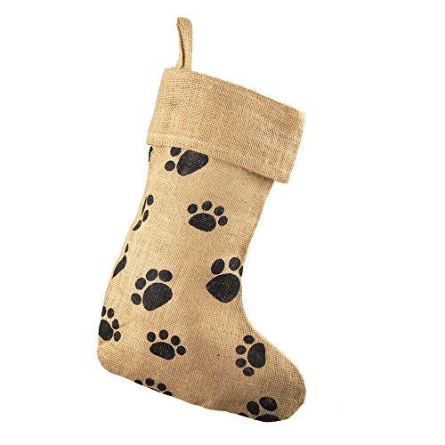 - Homeford Animal Paw Print Burlap Christmas Stocking, Natural, 17-Inch