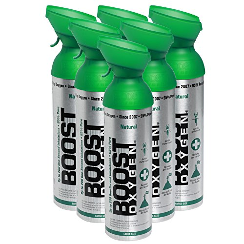 95% Pure Pocket Sized Oxygen Supplement, Portable Canister of Clean Oxygen, Increases Endurance, Recovery, Mental Acuity and Performance (5 Liter Canisters) (Natural, 6-Pack)