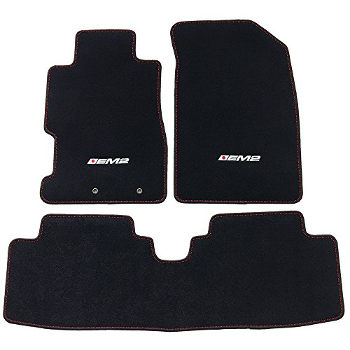 Floor Mat Fits 2001-2005 Civic & 2002-2005 Civic Si | EM2 Logo Factory Fitment Front & Rear Nylon Car Floor Carpets Carpet liner by IKON MOTORSPORTS | ?2002 2003 2004