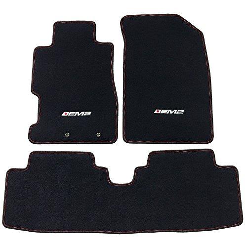(Floor Mat Fits 2001-2005 Civic & 2002-2005 Civic Si | EM2 Logo OE Factory Fitment Front & Rear Nylon Car Floor Carpets Carpet liner by IKON MOTORSPORTS | 2002 2003 2004)