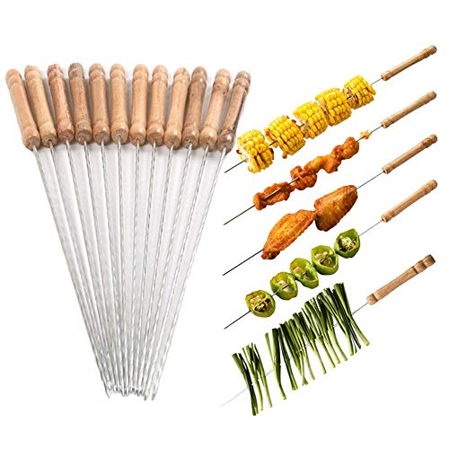 Bbq Stick - Barbecue Skewers, 48 PCS Barbecue String with Wooden Handle BBQ Stick Needles Outdoor Camping Outings Cooking Tools