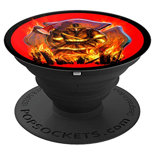 Fireman Shield and Axe Firefighter Portrait Art Design Gift - PopSockets Grip and Stand for Phones and Tablets