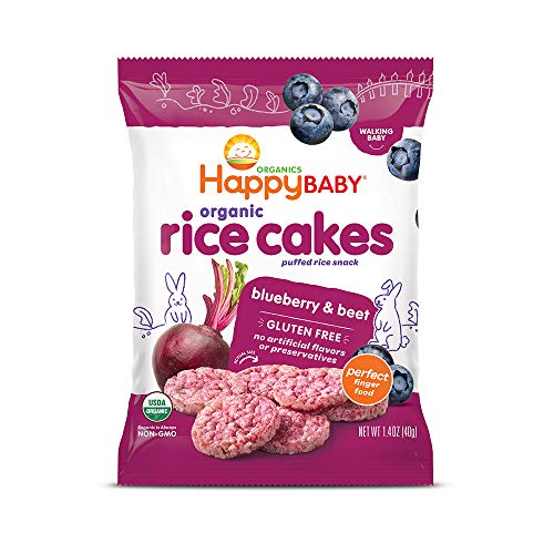 Happy Baby Organic Rice Cakes Blueberry & Beets, 1.4 Ounce Packets (Pack of 10) (Packaging May Vary)
