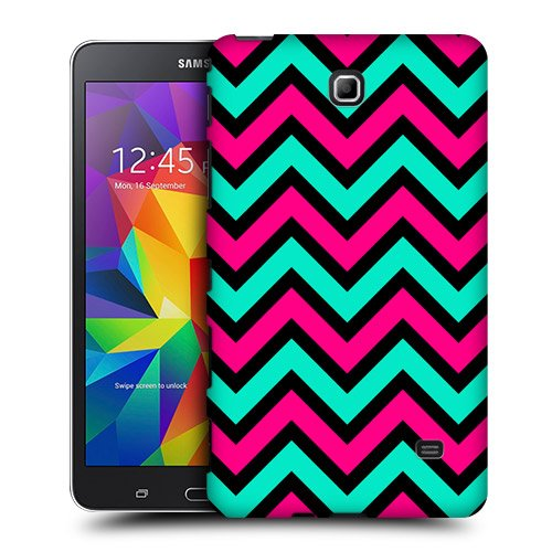 Head Case Designs Pink And Teal In Black Neon Chevron Protective Snap-on Hard Back Case Cover for Samsung Galaxy Tab 4 7.0 T230 T231 T235