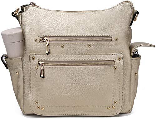End Pocket Womens Purse Handbag Crossbody Satchel Tote Top Handle by MKCUTE (Gold)