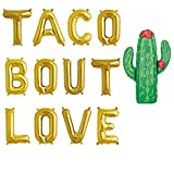 16''Taco Bout Love Balloons,Taco Party Decorations Sign, Bridal Shower Banner Decoration,Engagement Party Decorations,Fiesta Cinco De Mayo,CANNOT FLOAT,Gold
