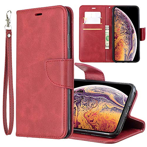 Xsmax Wallet Case Compatible with Apple iPhone Xs Max Xmax PU Leather Cover i Phone 10smax Xphone IP Bumper Kickstand Flip Card Holder Coque Skin 6.5 Inch (Red)