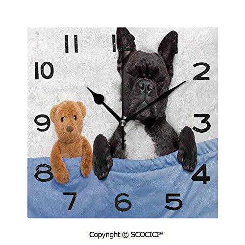 (SCOCICI Square Wall Clock French Bulldog Sleeping with Teddy Bear in Cozy Bed Best Fun Dreams Image 8 inch Morden Wall Clocks Silent Square Decorative Clock)