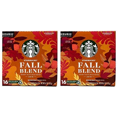 Starbucks 2019 Fall Blend K Cups Coffee Pods - Pack of 2 Boxes - 16 Keurig KCups Per Box - 100% Arabica Starbucks Medium Roast