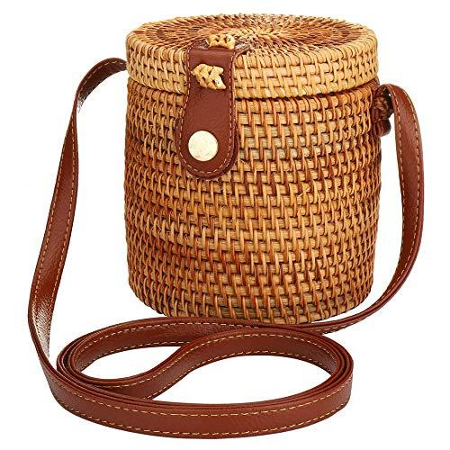 Natural Bucket Bag Straw Shoulder Bag Handmade Tote Weave Purse Straw Bag Beach Bag Summer Straw Handbag