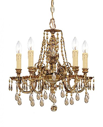 Olde Brass/Golden Teak Hand Polished Baroque 5 Light Cast Brass Chandelier with Golden Teak Hand-Polished Crystals