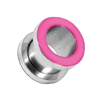 tumundo 1 Pieza Túnel Tunnel Plug Piercing Dilatador Enchufe Tapón Dilataciones Acero Inox Pendientes Expansor Rosa, Farbe2:rosa - 6mm: Amazon.es: Joyería