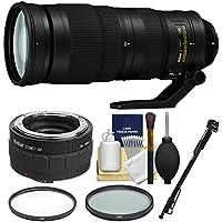 Nikon 200-500mm f/5.6E VR AF-S ED Nikkor Zoom Lens 2X Teleconverter + Monopod + 2 (UV & CPL) Filters Kit