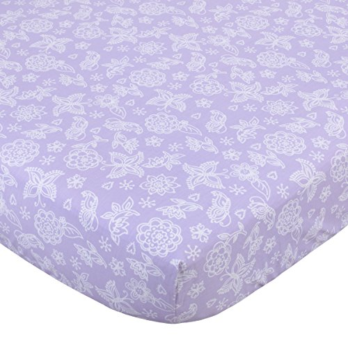 NoJo 100% Cotton Fitted Crib Sheet, Butterfly Flowers, (Lavender Fitted Sheets)