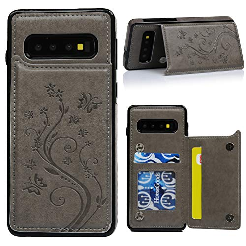 Galaxy S10 Card Holder Case, Galaxy S10 Wallet Case Embossed Butterfly Slim Folio Leather Cover Shockproof Shell with Credit Card Slot Protective Skin for Galaxy S10 (Gray) ()