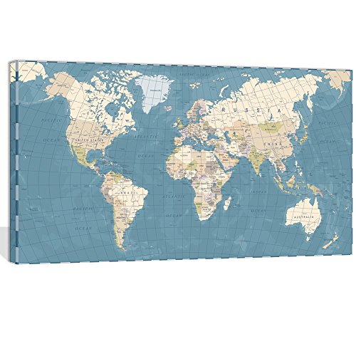 "Visual Art Decor Xlarge Blue Vintage World Map Canvas Prints Push Pin Travel Routes Atlas Framed and Stretched Map Wall Art Decor for Travel Pin Marks Map Office Room Wall Decor (28""x48"")"