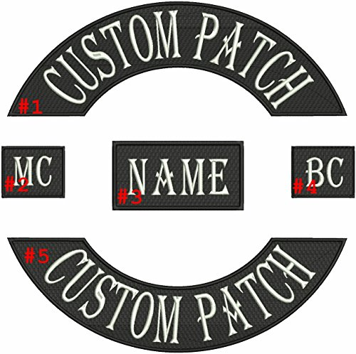 Masterpatch Custom Embroiderd Full Vest Biker 5pc (Sew Iron on) Patch Set - 12.3