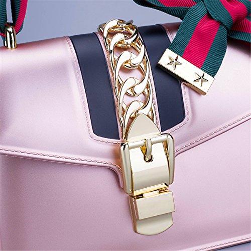 Pajarita con bolsa de hombro inclinado cadena hembra pequeño cuadrado bolsa bolso de moda hebilla, rosa