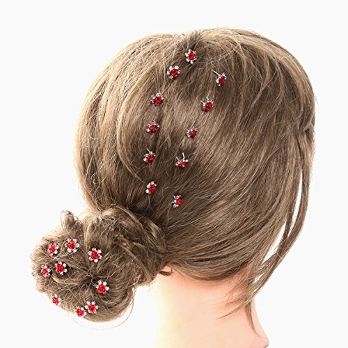 20pcs Rhinestone Rose Flower Hair Bobby Pin Crystal Bride Wedding Metal Hair Clip Decoration U Shape Jewelry Headpiece Accessories