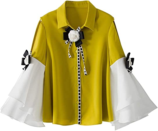 WODENINEK Moda De Mujer Europea y Americana. Camisa De Solapa Bicolor Manga Elegante Campana Camiseta Fuera del Hombro Blusa,Yellow,L: Amazon.es: Hogar