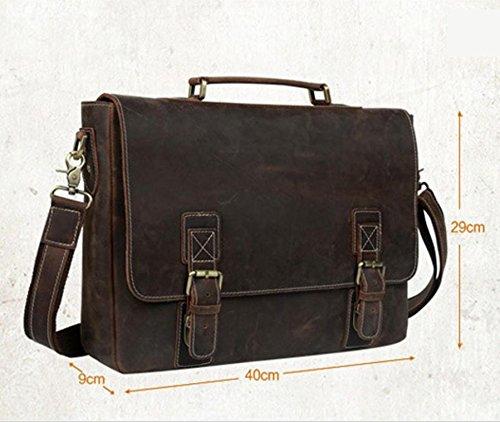 Primera capa de piel de cuero hombres bolsa / bolsa de negocios loco caballo bolso / cartera hombres bolso de hombro para aumentar , dark brown light brown