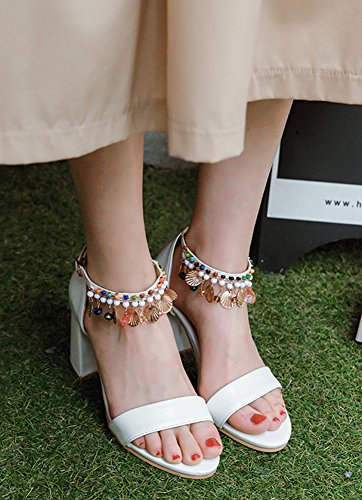 Franges Boucle Bout Mode Sandales Aisun Multicolore Avec Femme Ouvert Blanc Strass 7OEHn64z