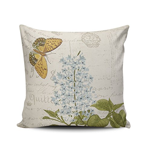 (SALLEING Custom Fashion Home Decor Pillowcase Embroidered Flower and Butterfly Square Throw Pillow Cover Cushion Case 20x20 Inches One Sided Print)
