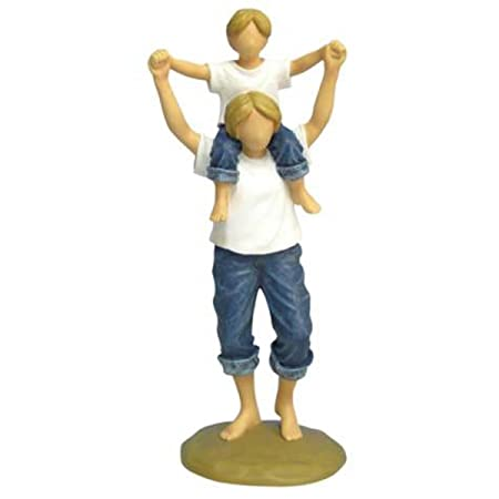 WL SS-WL-18436, 8.25 Inch Mother with Son on Shoulders in Blue Jeans Resin Figurine, 8.25