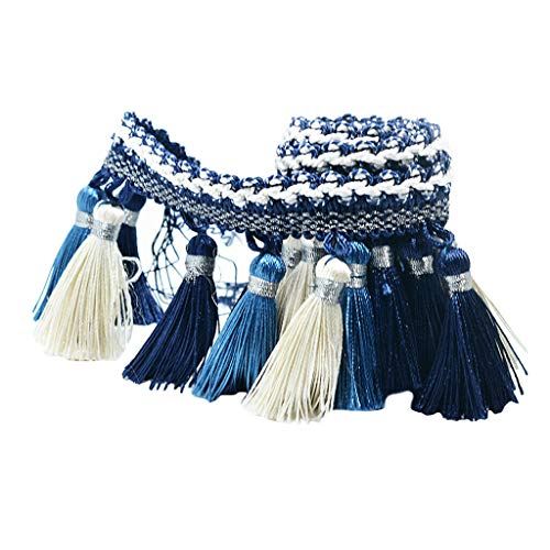 1 Yard European Clothing Curtain Tassel Edging Fringe Trim BlueWhite ()