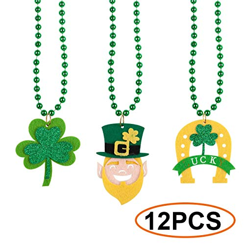12PCS St Patrick's Day Shamrock Clover Green Bead Pendant Necklace for Party Favor Supplies Accessories for Kids/Adults